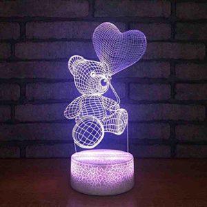 Unique 3D USB Valentine Cadeau Lampe de Bureau Led 7 Couleurs Petit Ours En Forme de Coeur Ballon Veilleuses Chambre Décor Ambiance Lumière Télécommande