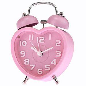 Whbage Réveil Numérique Réveil Mignon Petit Double Cloche Veilleuse Enfants Mini Quartz Réveil Coeur