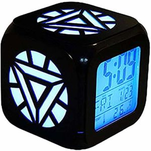 XY-M énergie réacteur nucléaire 3D stéréo Réveil LED Fashion Night Creative Light Nuit de Charge USB Alarme Horloge (Sept Couleurs)