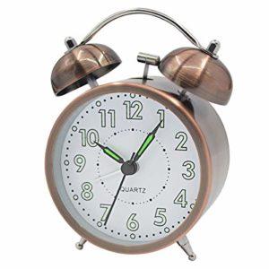 Coolzon® Reveil Double Cloche Rétro Alarme Fort sans Tic Tac Chevet fonctionnant sur Batterie avec Veilleuse, Lumineux Analogique Silencieuse réveil pour Chambre à Coucher, Salon, Cuisine