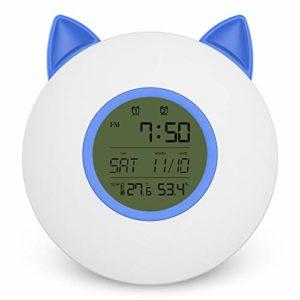 HIL Home Smart Écran À LED Bleu Lumière De Réveil, Température Et Humidité Affichage En Temps Réel Fréquence FM Coloré Chevet Veilleuse Chat Oreille Styling Réveil