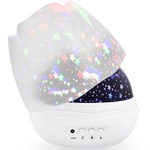 Lampe Veilleuse Enfant, veilleuse 4 LEDs 360° degrés ambiance nuit étoilée, Cosmos ambiance romantique
