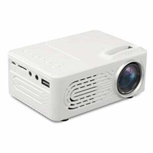 Mini Projecteur 1080P – Projecteur vidéo portable avec 20 000 LED Hrs vie de la lampe, Maison et extérieur Projecteur Compatible avec USB, SD, TF, AV (Color : White)
