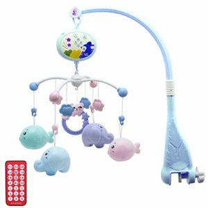 Mobile bébé lit bébé mobile, lit mobile lit Bell jouets, poussette rotative chevet cloche jouet hochet, jouets rotatifs cloches boîte à musique et projecteur étoile Projection, réglable,