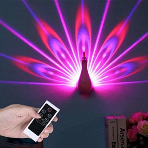 N/ A LED Applique Murale Lampe De Projection Paon Télécommande Maison Decro Atmosphère Romantique Couloirs Colorés Fond Veilleuse