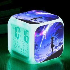 PKLFQQA Réveil Voyage réveil Chevet réveil numérique réveil avec Port de Chargement USB LED veilleuse colorée illuminé réveil Affichage Multifonctionnel Peut être personnalisé avec Plusieurs modèle
