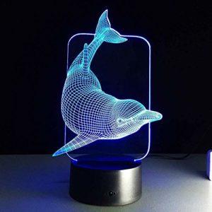 Stéréo Lumière Mignon Animal 3D Dessin Animé Led Veilleuse Dauphin Lampes Décoration Créative Led Lampe de Table Haute Qualité avec Câble USB Enfants Cadeaux Lampe Acrylique