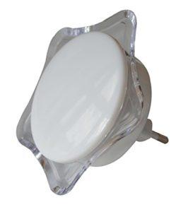 Tibelec 619710 Lampe veilleuse crépusculaire allumage automatique, enfichable, étoile blanche, Plastique, 1.2 W, Rose
