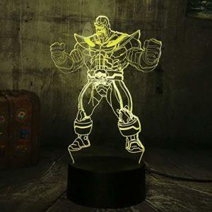Veilleuse 3D Marvel The Avengers Grand méchant Thanos 3D LED Rgb 7 couleurs Changement de nuit, veilleuse de bébé, veilleuse, veilleuse de sommeil, lampe de salon, chambre d'enfant, cadeau de Noël
