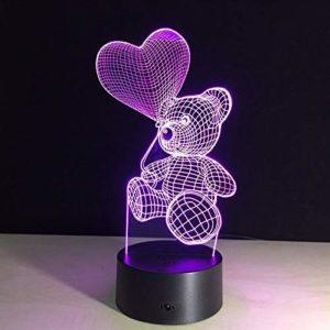 Veilleuse 3D Touch Veilleuse Led Coeur Ballon Ours Lampe Enfants Chambre Chevet Veilleuse Enfants Cadeau Stéréo Lumière