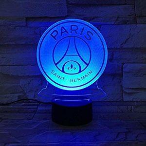 Veilleuse LED FC Paris Saint Germain Football Club 3D Illusion Enfants Enfants Ligue 1 Logo de Football PSG Night Lamp Lampe de Table @ 1