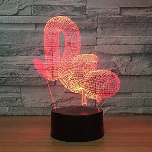 YDBDB Veilleuse Lecontrôlecoloré de la maison intelligente 3D amené la lampe simple d'enfants d'atmosphère d'anniversaire de mode de Caterpillar