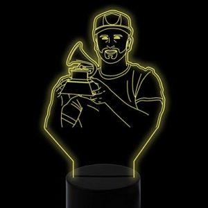 Ydwd7 Couleurs Changer 3D Visual Led Chanteur Tenir Petit Phonographe Modélisation Veilleuse Enfants Toucher Usb Musical Lampe De Bureau Trophée Décor À Distance