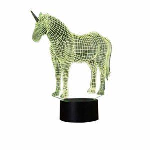 YKMY Licorne 3D Illusion Lampe Veilleuse avec 7 Couleurs Clignotant Et Interrupteur Tactile USB Alimenté, Chambre Bureau Lampe pour Filles'Gifts Décoration