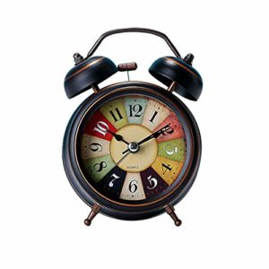 yuanchuang Réveil Analog Nightlight Design Silent Bedroom Alarm Clock Loud Non Ticking Bedside Battery Operated Quartz Vintage Wake Up Twin Bell