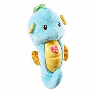 Fisher-Price Petit Hippoc'Lampe veilleuse bébé en peluche, jouet musical et lumineux bleu dès la naissance, DGH82