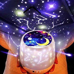 LED Projecteur Ciel Etoile, Romantique Étoile Projecteur Veilleuse Rotation Romantique LED Lampe Océan Rêve Ciel Étoilé Roman USB Lampe pour Famille Fête D'anniversaire Cadeau
