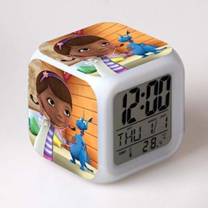 shiyueNB Réveil Dessin animé Jouet Enfants réveil LED Changement de Couleur Horloge numérique Bureau Nuit réveil lumière Version électronique