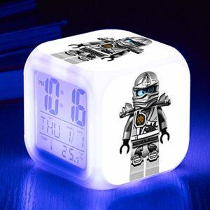 yuandp Cartoon réveil Jouet pour Enfants Film LED réveil Horloge numérique maître réveiller Table Lumineuse déverrouiller réveil