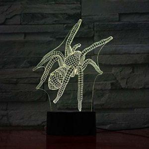 3D Lampe Illusion Optique LED Veilleuse, Araignée Insecte 7 Couleurs Lampe de Table Led Veilleuse pour Enfants Cadeau Décor À La Maison Éclairage Ambiance Romantique