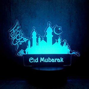 3D Lampe Illusion Optique LED Veilleuse, Ramadan Mubarak 3D Led Lampe Chambre Décor Nuit Lumière Sommeil Bureau Éclairage USB Ampoule Exposition Acrylique Lumière Affichage