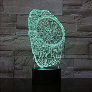 Abstrait Creative Abstrait Montre de poignet en forme de 7 changement de couleur Interrupteur Tactile Bébé Sommeil Créatif USB 3D Veilleuse Décoration de Maison Lumière