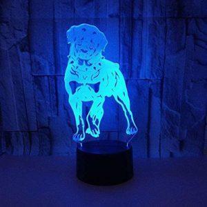 Animal Chien 3D Veilleuse 7 Changement de Couleur Bouton Tactile Led Lampe de Table De Noël USB Luminaire Enfants Cadeau Chambre Table De Chevet Décoration