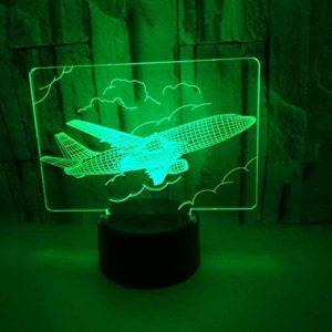 Avion Forme 3D Veilleuse LED Illusion Optique Lampe 7 Couleurs Changement Tactile Lampe de Bureau Salon Chambre Bureau Maternelle Lampe Décorative