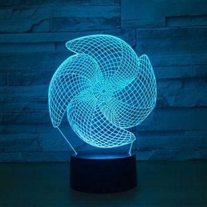 Big Pinwheel 3D LED Couleur Lampe Tactile Charge Led cadeau visuel Led veilleuse Chambre d'enfant Lampe de nuit pour la maison