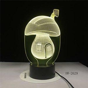 Conte de fées Champignon Maison 3D Alarme de Bande Dessinée Illusion LED Veilleuses Ambiance Éclairage Lampe Jouet Cadeaux