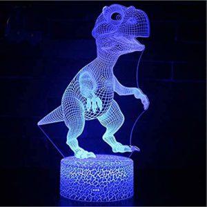 Dinosaure Animal 3D Veilleuse LED Illusion D'optique Lampe 7 Couleurs Changement Tactile Lampe De Bureau pour Chambre Table De Chevet Décoration Enfants Anniversaire Cadeaux De Noël