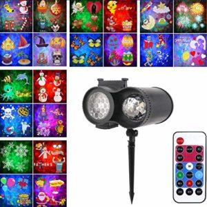 Halloween Noël projecteur lumières LED, 20 LED projecteur de diapositives lampe double projection de lumière extérieure étanche eau Projecteur LED avec télécommande for le Parti, Anniversaire lalay
