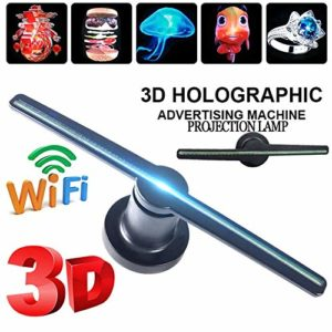 Hologramme 3D Lampe de projection Projecteur LED Publicité Fan Télécommande Hologram Fan Wifi Connexion flottant 3D vidéo et image LED avec affichage publicitaire TF for signes de magasin, cadeaux, 45