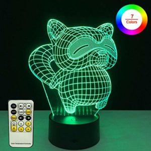 Keyuan Veilleuse 3D pour enfants bébé chat LED Illusion Lampe 7 couleurs Changement Smart Touch avec télécommande Cadeau Décoration