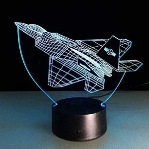 Lampe 3d Illusion optique, Avion 3D Veilleuses Air Plane Fighter Lampe de Table 7 Changement de Couleur USB Power Decor Cadeau Veilleuse pour Enfants