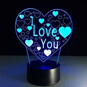 Lampe 3D Illusion Veilleuse, Je t'aime coeur 3D illusion visuelle veilleuse coloré LED lampe de table tactile romantique fête de mariage Decoracion meilleurs cadeaux