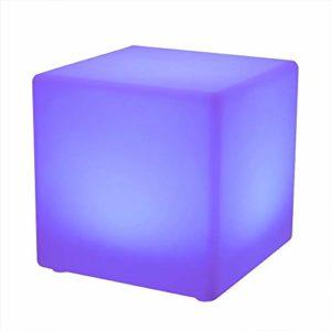 Paddia Veilleuse moderne rechargeable télécommandée Mood Cube – Étanche 16 couleurs changeantes de la batterie Glow Cube LED jouet de détection pour les adultes des enfants illuminent la chambre Bar D