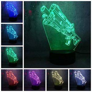 Pistolet à jouets préféré des enfants 3D coloré LED veilleuse changeant les enfants bébé atmosphère tactile lampe de table décorations de vacances meilleur cadeau jouet