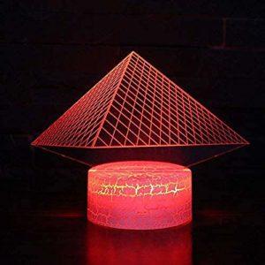 Pyramide 3D Veilleuse LED Illusion D'optique Lampe 7 Couleurs Changement Tactile Lampe De Bureau Salon Chambre Bureau Maternelle Lampe Décorative