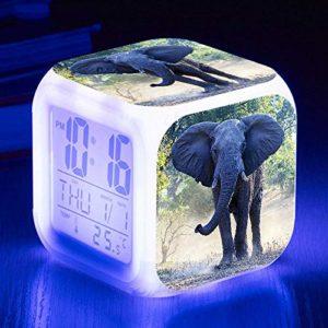 Réveillez Vous Lumières USB Éléphant Réveil 7 Couleur Rougeoyante LED Réveil Enfants Chambre Tactile Détection Humeur Lampe Numérique Flash Montres HorlogeE