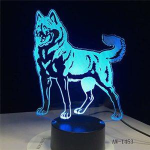 RMRM 7 Couleurs 3D Veilleuse Chien debout 7 Couleurs Lampe 3D Visuelle Led Veilleuses pour Enfants Touch USB Table Lampara Lampe Bébé Veilleuse Veilleuse