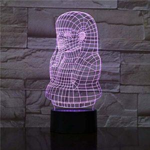 Veilleuse 3D pour Enfants, Lampe 3D Les Pharaons d'Égypte changent de couleur avec une batterie personnalisée Présente 3D Optique Led Night Light Lamp