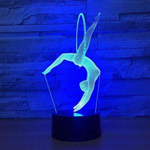 Veilleuse 3D pour Enfants, Wolf 3D Lampe Colorée Contrôle Tactile Led Nuit Lumière Luminaria Belle 7 Changement de Couleur 3D Lampe-A1346