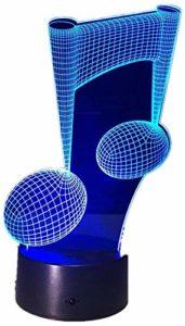 Veilleuse à note de musique 3D fête d'anniversaire cadeau chambre à coucher éclairage noir