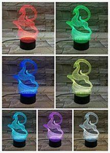 Veilleuse pour enfants de Noël cerf 3D LED lumière de nuit tactile 7 couleurs Décoration d'intérieur enfants filles garçons cadeaux de Noël 7 Illusion d'optique 3D lampe @3