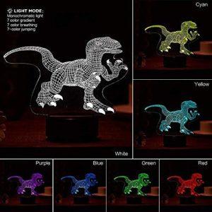 Veilleuse pour enfants Dinosaure USB 3D LED Veilleuse Décoration d'intérieur Enfants Filles Garçons Cadeau de Noël Touch 7 Couleurs Lampe 3D Lampe Veilleuse pour les enfants@Touch 7 Couleurs