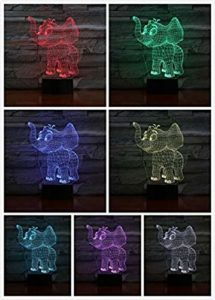 Veilleuse pour enfants Éléphant 3D LED Veilleuse à distance 7 couleurs Décoration d'intérieur Enfants Filles Garçons Cadeau de Noël 6 Illusion d'Optique Lampe 3D @1
