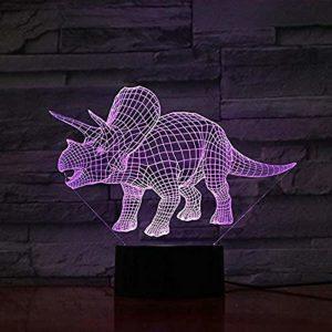 Veilleuse pour enfants Jurassic Park Dinosaure 3D LED Veilleuse Décoration d'intérieur Enfants Filles Garçons Cadeau de Noël Effet lave Touch Lampe 3D Lampe Veilleuse pour Enfants @Touch 7 Couleurs