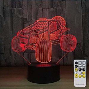 Voiture hors route 3D veilleuse LED Illusion d'optique lampe 7 couleurs changeantes tactile lampe de bureau pour chambre table de chevet décoration enfants anniversaire cadeaux de noël