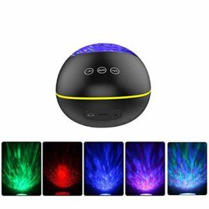 Xiaoyue Ocean Projecteur LED Magique personnalité de la Lampe de Projection Haut-Parleur à Distance Chambre de contrôle colorée de Charge Night Light lalay (Color : Black)